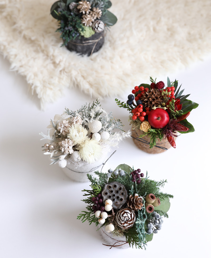 プリザーブドフラワー クリスマス クリスマスアレンジ 羊毛フェルト 冬ギフト ウィンター フラワーアレンジ ドライフラワー