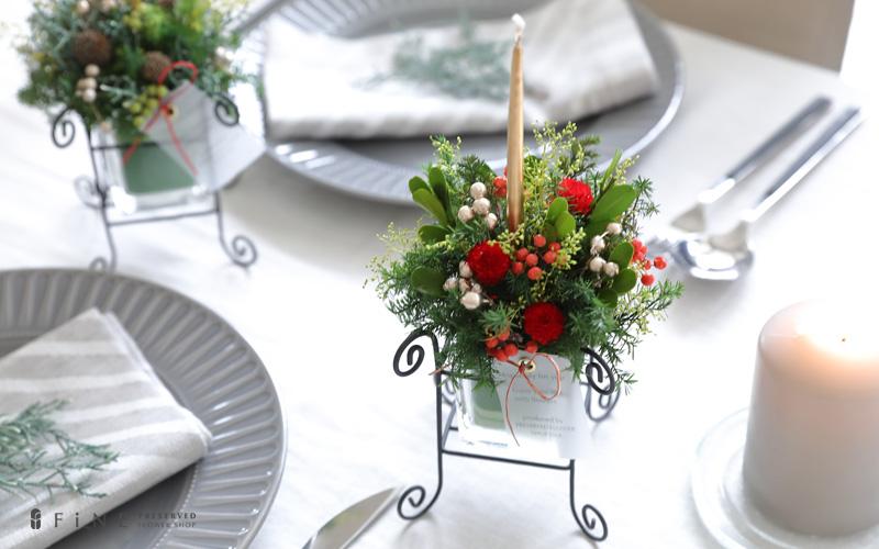 プリザーブドフラワー クリスマス クリスマスキャンドル プレゼント ギフト テーブルフラワー キャンドル 装飾 インテリア