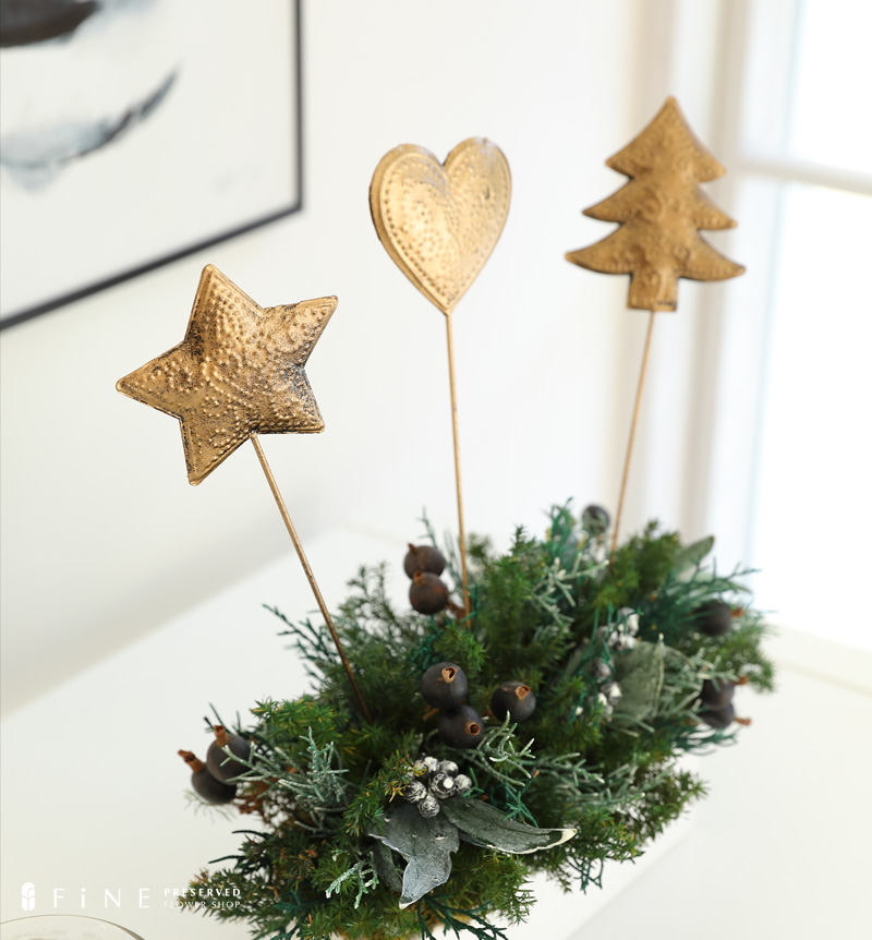 クリスマス雑貨 クリスマス クリスマスピック ブリキ フラワーピック 飾り キラキラ お洒落